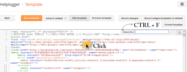 image : Pressing CTRL + F to find something in blogger template