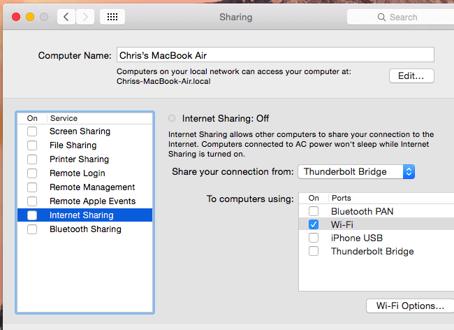 MAC internet sharing connection hotspot for other devices