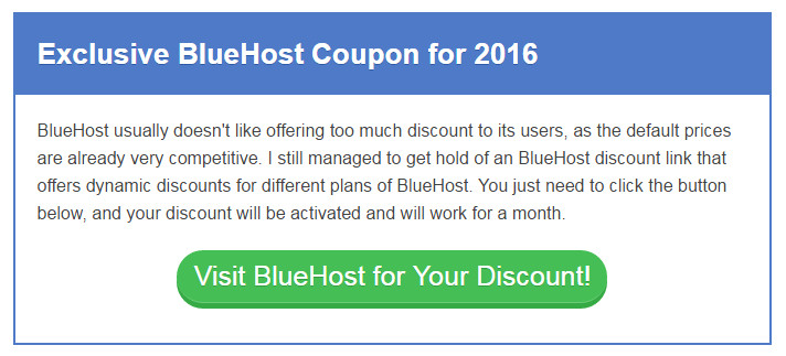BlueHost Coupon Code for Discount Hosting Plan