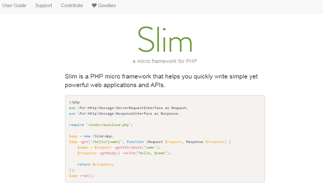 slim best php framework for web development