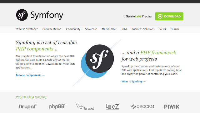 Symfony best php framework for web development