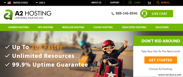 image of a2hosting best web hosting company in the world