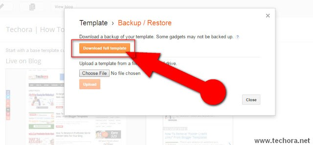 in this image see how to back/restore blogger template