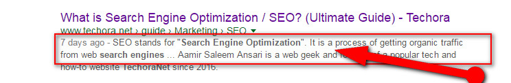 image of on-page seo optimized meta tag description to rank high in google