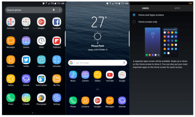 Samsung Galaxy S8 Launcher APK on Samsung Devices