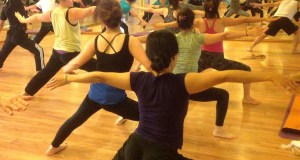 Yoga dance, exercise and belly button rings