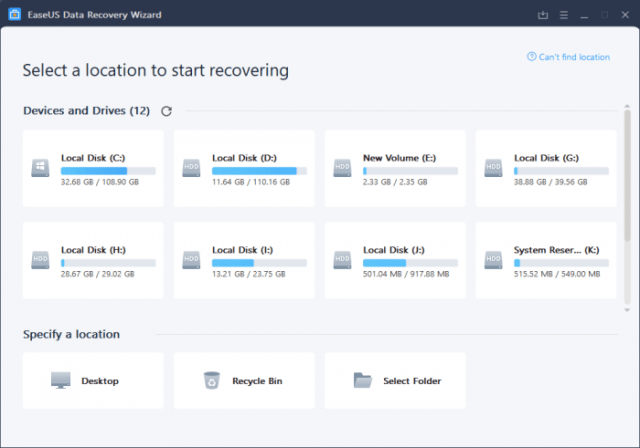 steps to recovery select place Now recovering data is accessible with EaseUS
