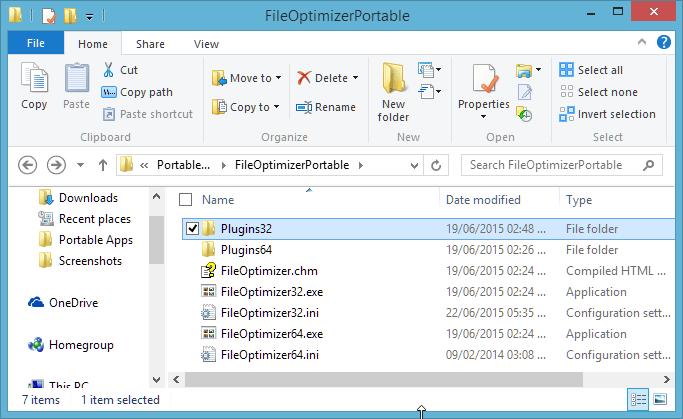 Plugins Folder in FileOptimizer