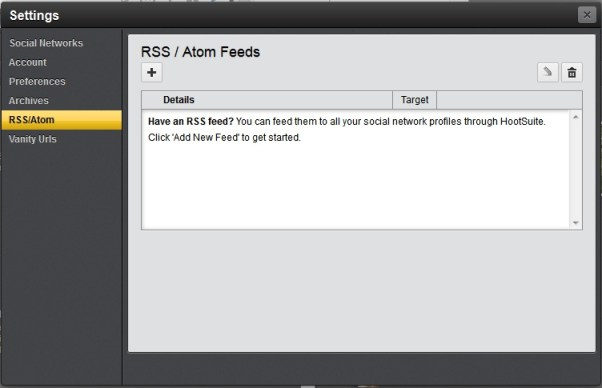 HootSuite Add RSS