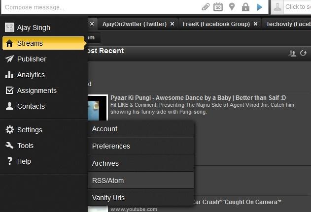 HootSuite RSS Settings