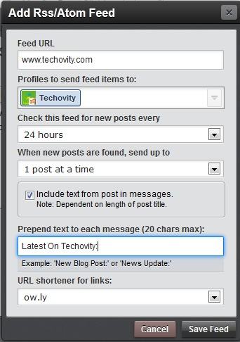 HootSuite Set RSS Settings