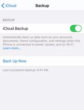 Tap to turn on iCloud Backup