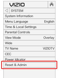 reset and admin option on vizio smart tv