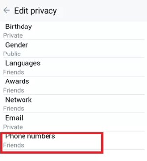 Click the Phone Number option