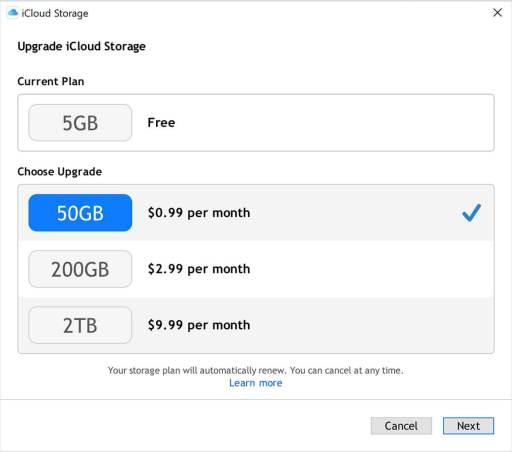 Increase iCloud Storage on Windows