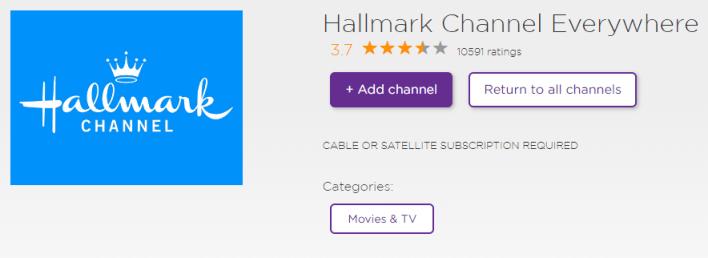 Add channel: Hallmark Everywhere Channel on Roku