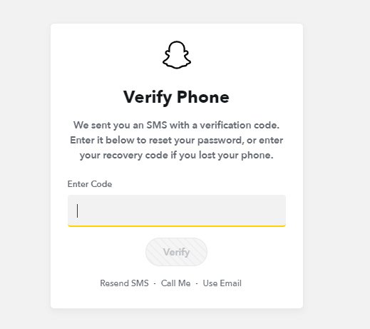 Reset Snapchat Password from Website