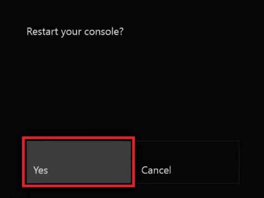 Click Yes to start restart.