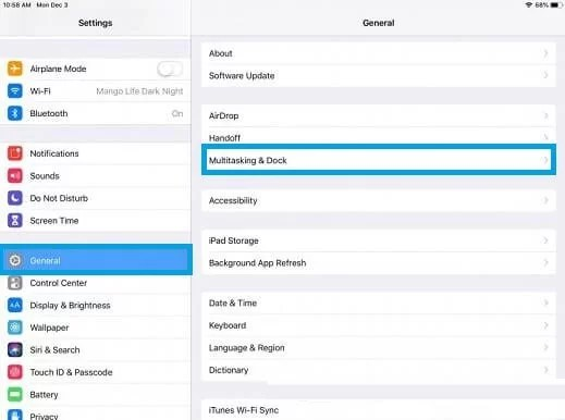 Select General and choose Multitasking and Dock option