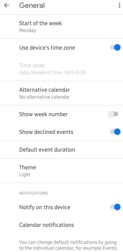 Select Theme - Google Calendar Dark Mode