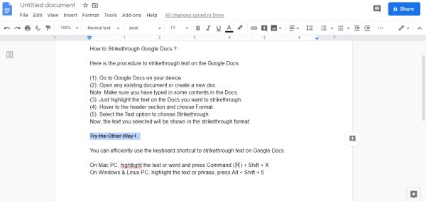 Strikethrough in Google Docs