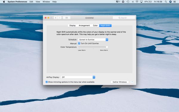 Turn on Night Shift - Mac Dark Mode
