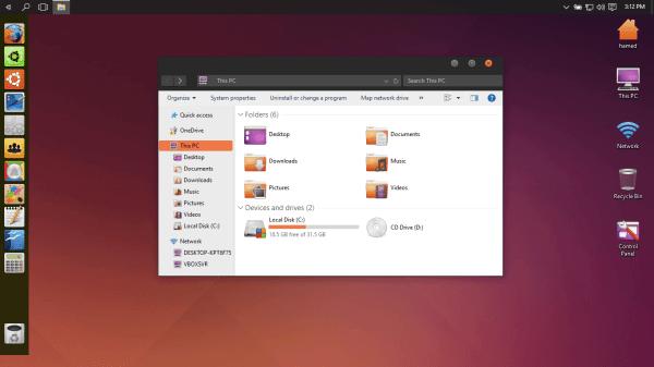 Ubuntu SkinPack: Windows 10 Themes