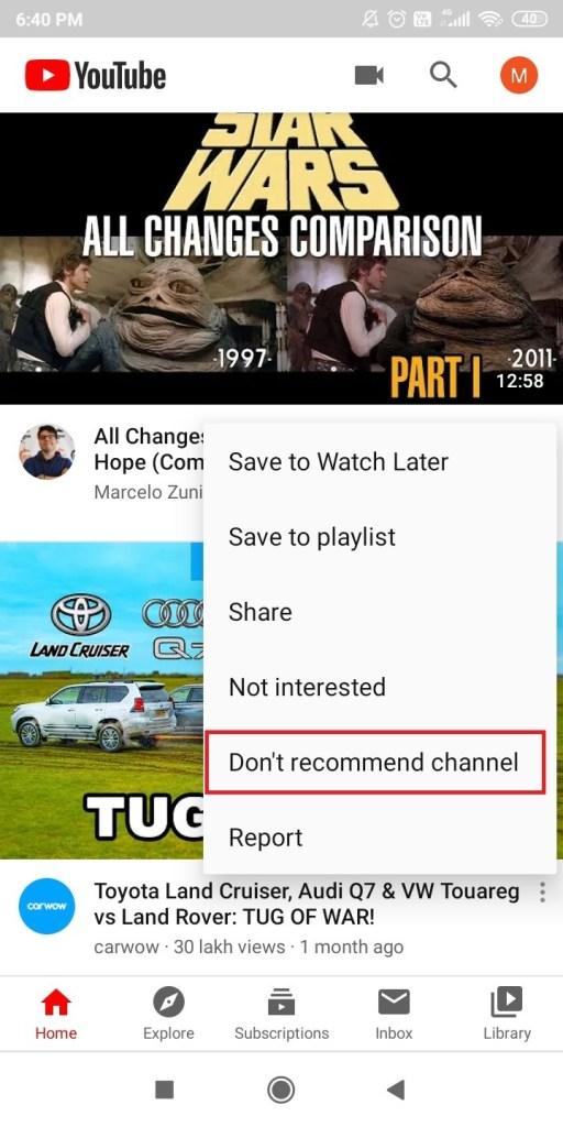 Block YouTube Channels