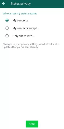Choose Status Privacy to hide WhatsApp Status