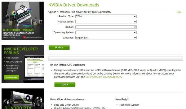 Enter Details to Find Drivers-How to Rollback Nvidia Drivers