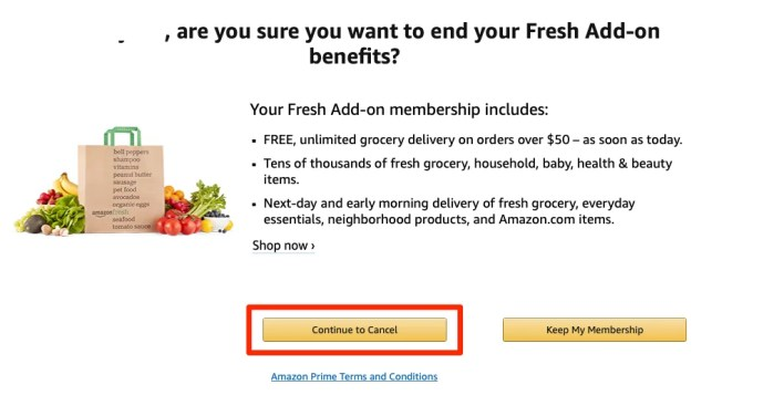 Cancel Amazon Fresh