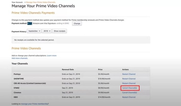 Cancel Starz on Amazon