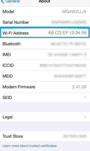 Check Mac Address on Wi-Fi Address