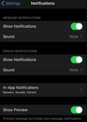 Notification setting - Turn Off WhatsApp Notifications in Iphone