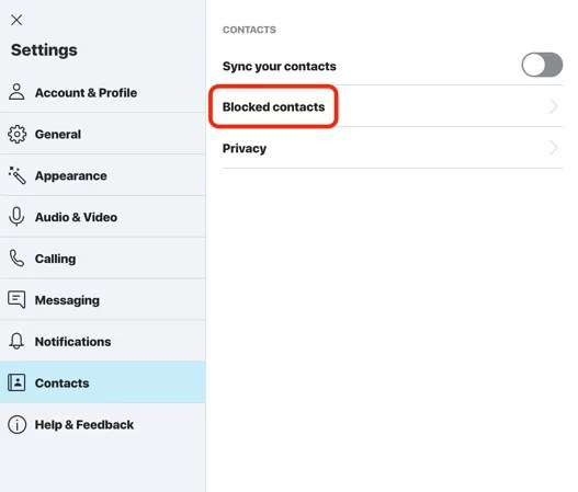 Select Blocked Contacts-How to Unblock Someone on Skype