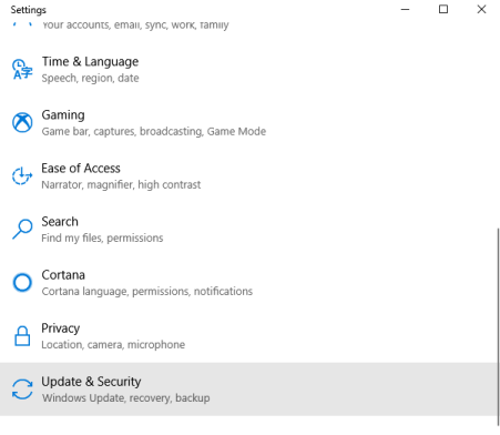 Select Update and Security - How to Check for Windows Updates