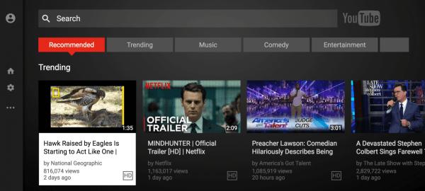 YouTube on Sony TV