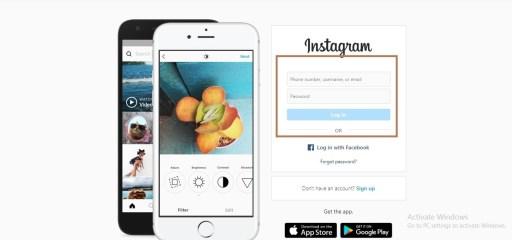 Log into Instagram in web browser