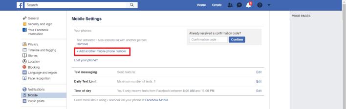 Change Phone Number on Facebook