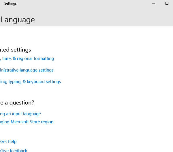 Choose Administrative language settings to Change Language on Windows