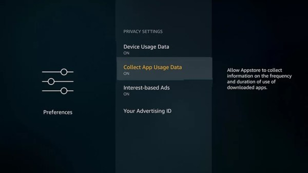 Choose Collect App Usage Data to Stop Buffering on Firestick