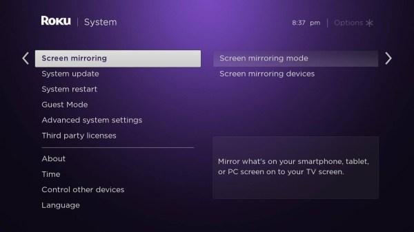 Choose Screen Mirroring