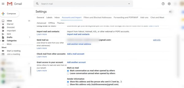 Click Edit Info to Change Display Name on Gmail