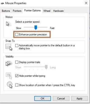Enhance Pointer precision - Turn Off Mouse Acceleration on Windows 10