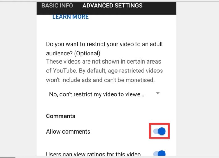 Disable Comments on YouTube
