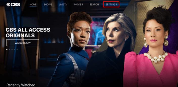 Settings - CBS On Apple TV