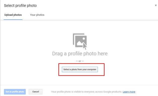Select a photo from your computer - How To Change Profile Picture On Gmail