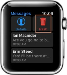 Trash to Delete Messages on Apple Watch