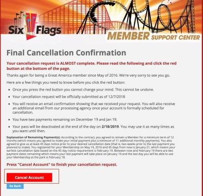 Cancellation Confirmation - Cancel Six Flags Membership