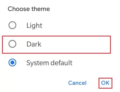 Select Dark Theme
